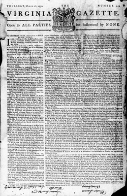 Front Page of Virginia Gazette, March 26, 1772